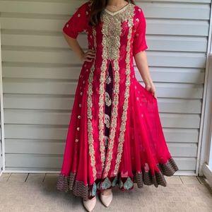 Hot Pink & Purple Indian/Pakistani Anarkali Dress